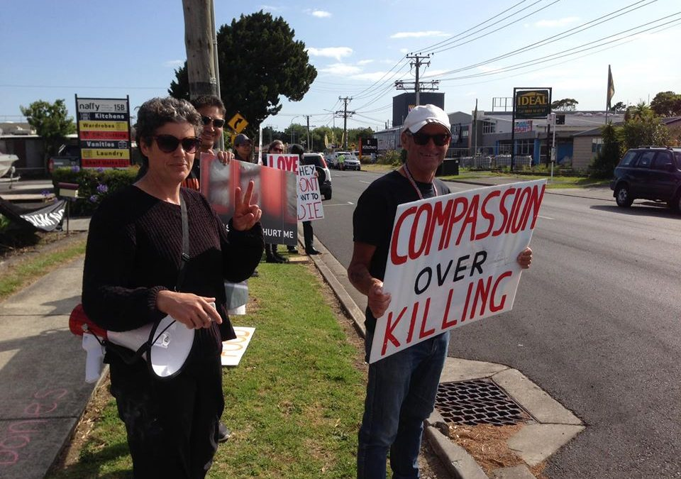 Vigil at Chicken Slaughterhouse, Auckland, NZ,  17 January 2020